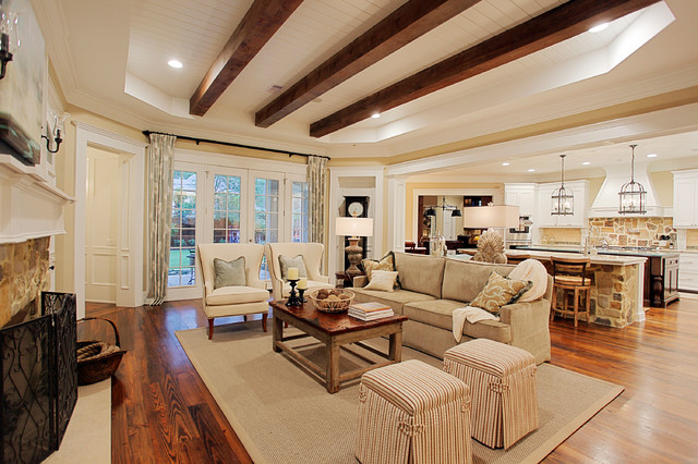 Modern traditional living room before and after - Memorial Hamptons Style Traditional Living Room