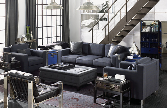 Example Of A Trendy Living Room Design In New York