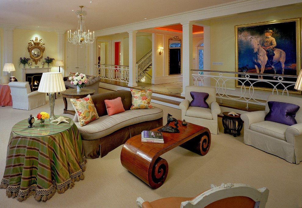 Inspiration for a huge timeless living room remodel in Miami with yellow walls