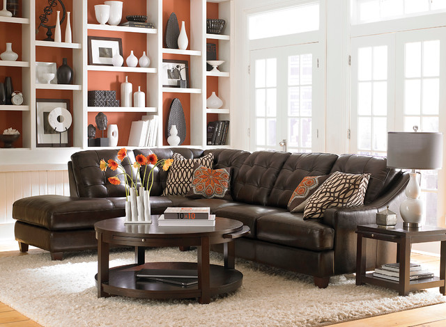 Mercer Left Chaise Sectional by Bassett Furniture contemporary-living-room : bassett leather sectional - Sectionals, Sofas & Couches