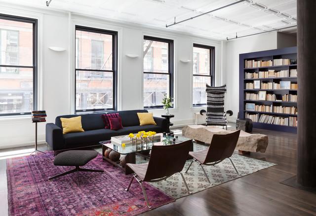 Mercer street loft industriel salon new york par dhd architecture and - Salon loft industriel ...