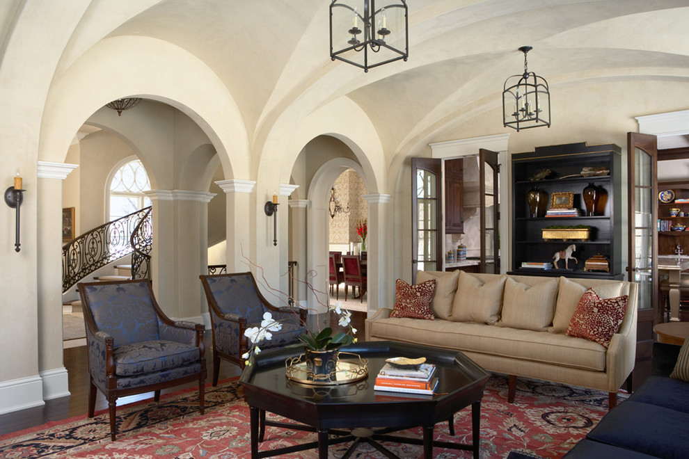 Living room - large traditional living room idea in Minneapolis with beige walls