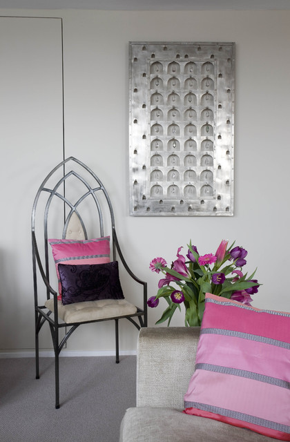 Metal and crystal wall hanging eclectic-living-room