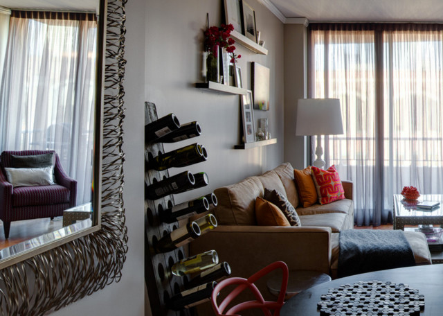 Attractive Metal Mirror And Wine Rack Contemporary Living Room Part 2
