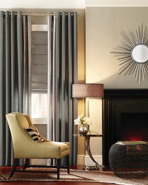 Metallic Drapery Panels Modern Living Room Orange County By Budget Bl