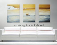 Metaphor - Set of 3 contemporary canvas art prints over White sofa contemporary living room