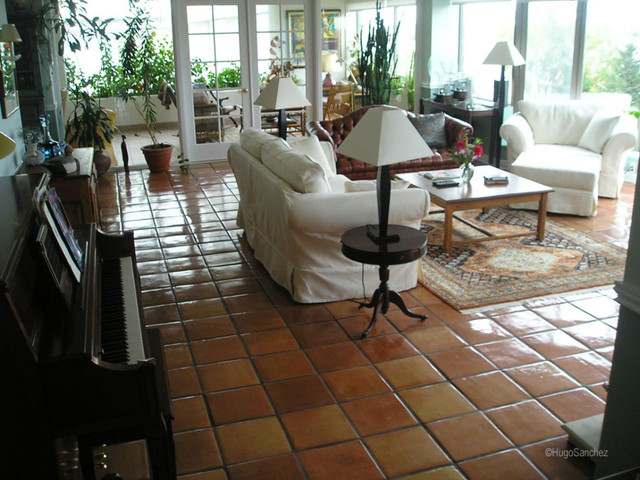 Mexican Terracotta Floors Traditional Living Room Montreal