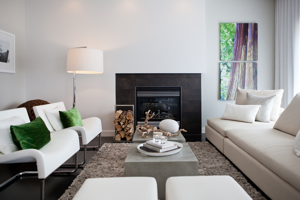 Living room - modern living room idea in Calgary with white walls, a standard fireplace and no tv