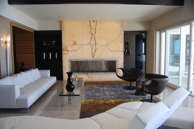 Example Of A Trendy Living Room Design In Miami With A Ribbon Fireplace
