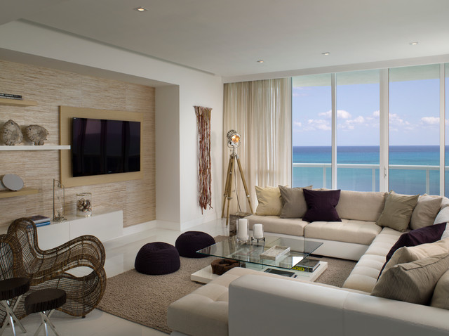 Miami beach penthouse beach style living room miami by associated design co - Beach style living room ...