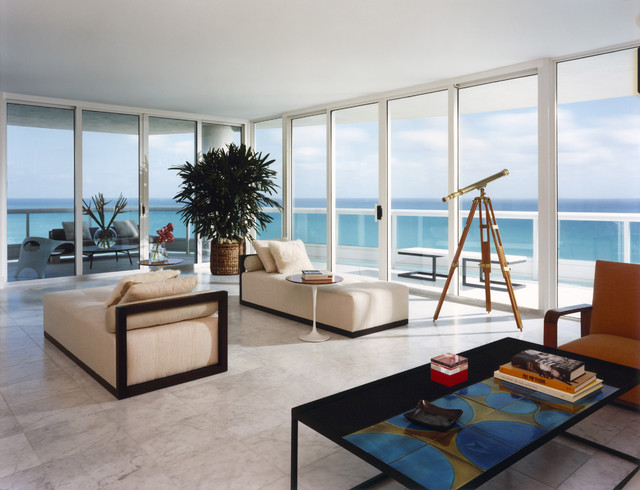 Miami Beach contemporary-living-room
