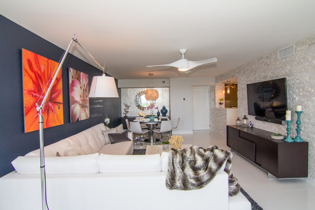 "Miami Condo....from ""eek"" to sleek! contemporary-living-room"