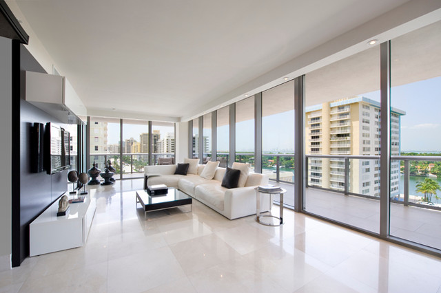 miami condo contemporary living room
