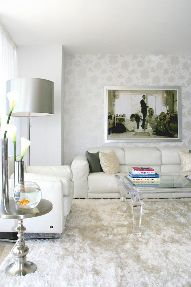 Inspiration for a contemporary living room remodel in Miami with white walls