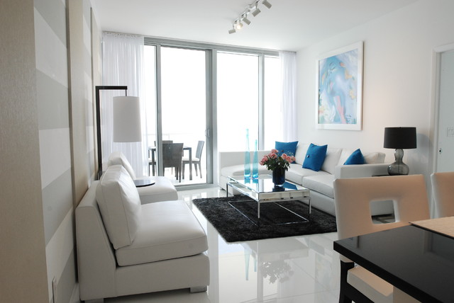 White on White contemporary-living-room