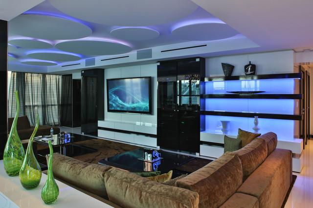 cool modern luxury penthouse living room | Miami Penthouse Mancave Great Room Luxury Living ...