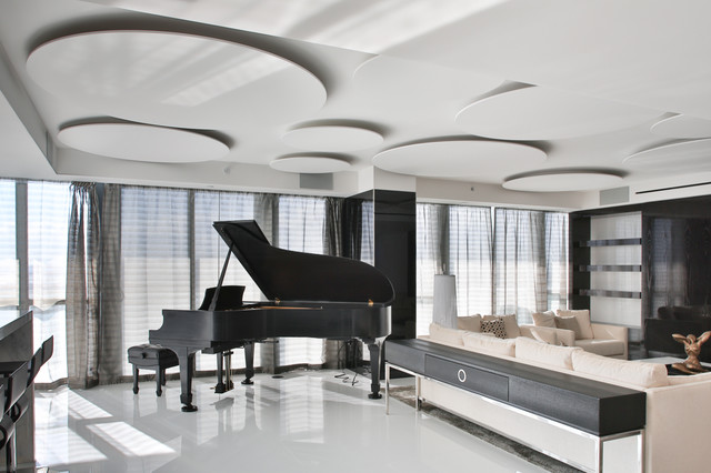 Miami Penthouse Mancave Steinway Piano Contemporary Living Room Part 76