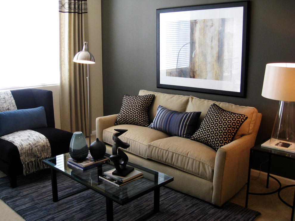 Trendy living room photo in San Diego with gray walls