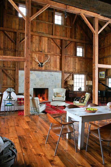 Michigan Barn Rustic Living Room Detroit By