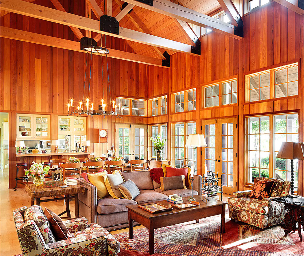 Living room - rustic open concept living room idea in Chicago