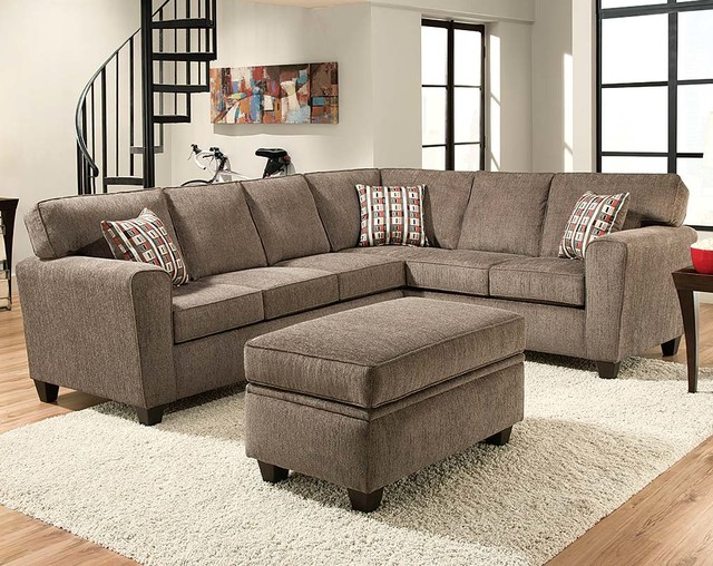 Etonnant Mickey Pewter Two Piece Sectional SofaContemporary Living Room, Columbus