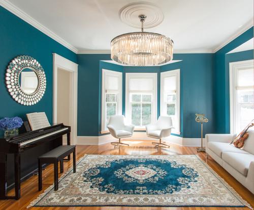 【床色 Amp 青の濃さ別】青い壁のおしゃれなインテリア厳選45例