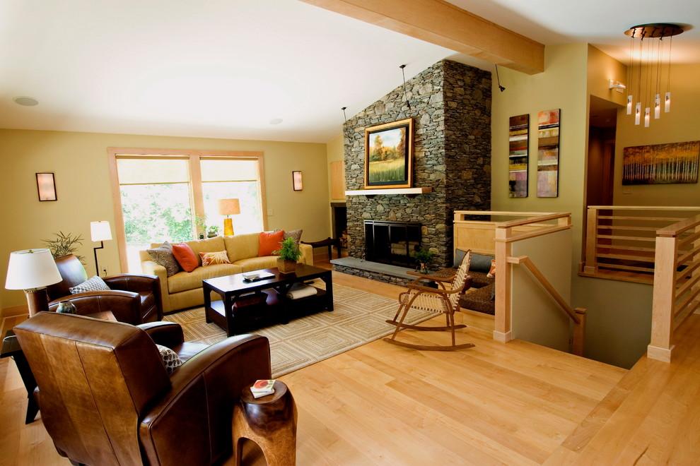 midcentury bungalow  modern  living room  providence