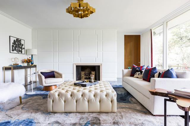 Mid century family room contemporary living room - Ranch americain poet interiors houston ...