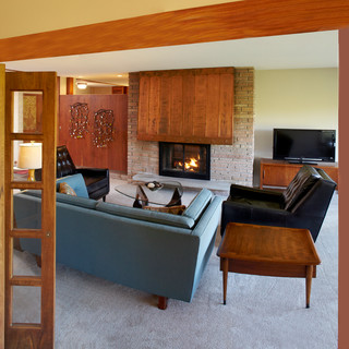 Mid-Century Home Whole House Remodel - Midcentury - Living Room - other metro - by White Crane ...