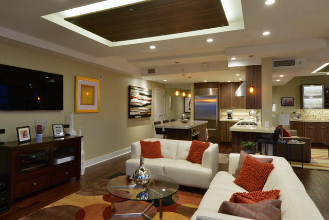 Mid Century Meets Modern Technology Midcentury Living Room San Diego By Tazz Lighting Inc