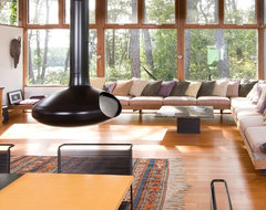 Mid-Century Modern Addition, Truro midcentury-living-room