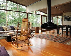 Mid-Century Modern Addition, Truro midcentury-living-room