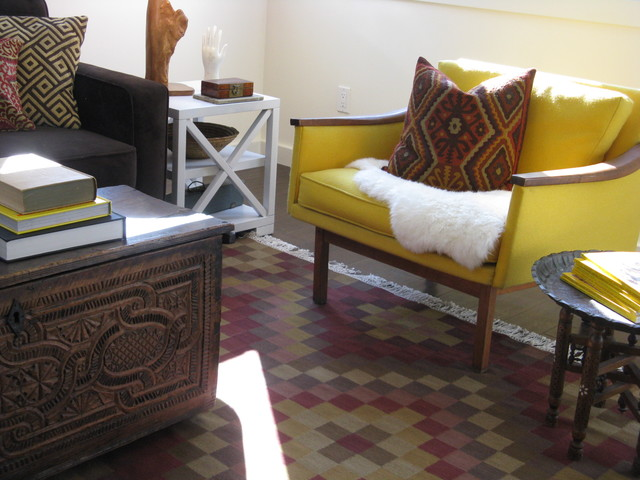 Mid Century Modern Chair, Kilim Rug and Antique Trunk eclectic living room