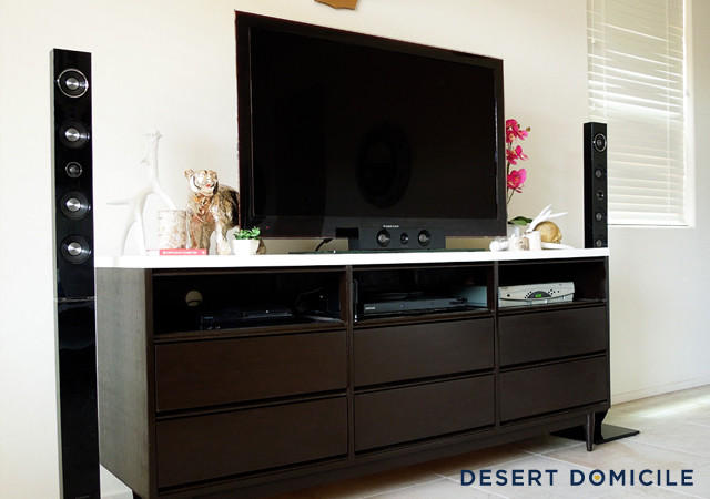 Mid century modern dresser turned entertainment center - Dresser as tv stand in living room ...
