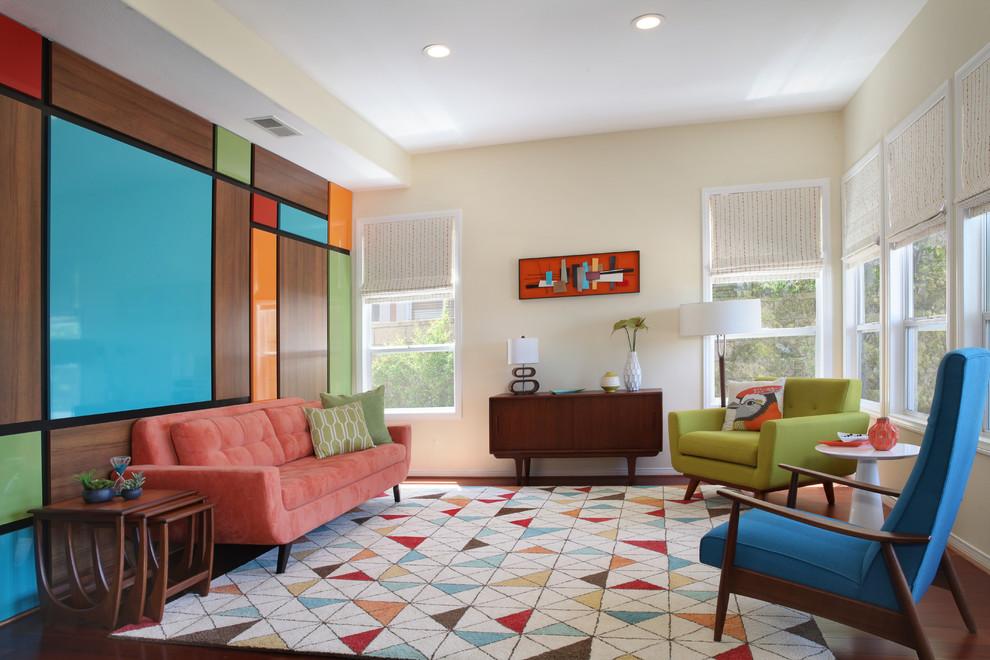 Living room - mid-sized mid-century modern medium tone wood floor living room idea in Orange County with multicolored walls