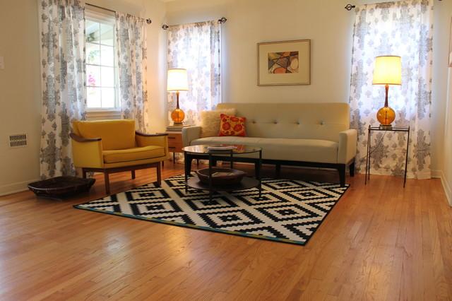 Mid century modern living room with b w rug midcentury - Mid century modern rug ideas ...