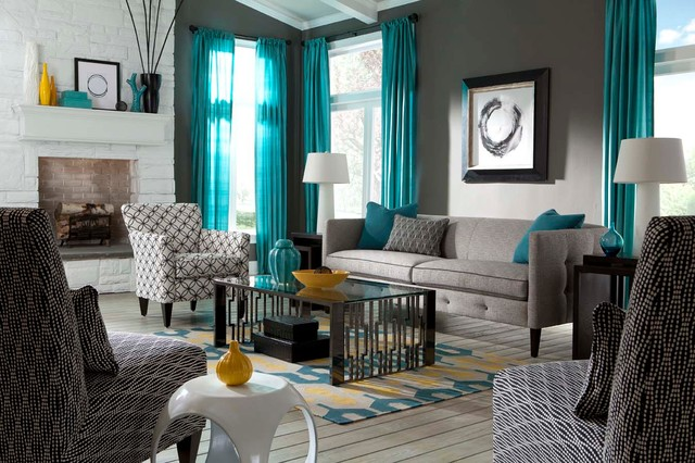 Gray And White Transitional Rustic Living Room With: Orange Teal Grey Living Room