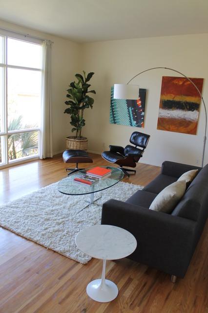 Mid century modern mad men style fiddle leaf fig for Mens modern living room