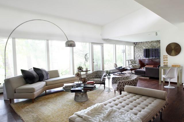 Huge 1950s Formal And Open Concept Um Tone Wood Floor Brown Living Room Photo