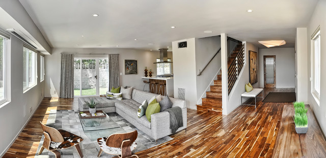 Mid Century Modern Open Concept Entry Living Room And