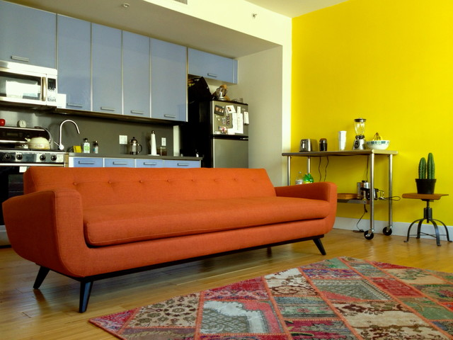 mid century modern orange chenille sofa the sofa company midcentury living room other. Black Bedroom Furniture Sets. Home Design Ideas