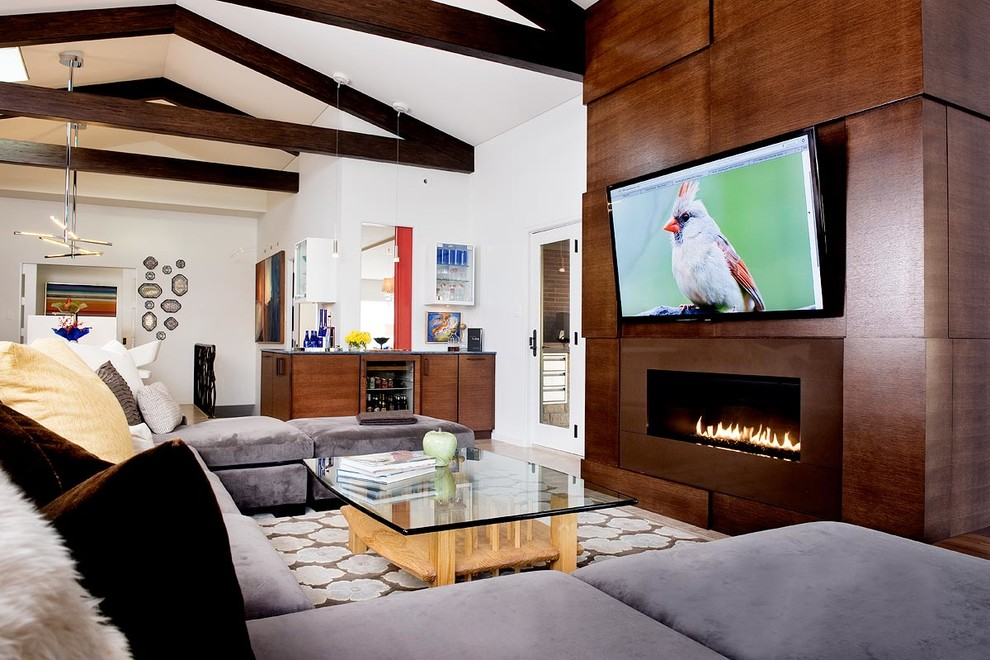 Living room - contemporary open concept living room idea in Other with white walls, a ribbon fireplace and a wall-mounted tv