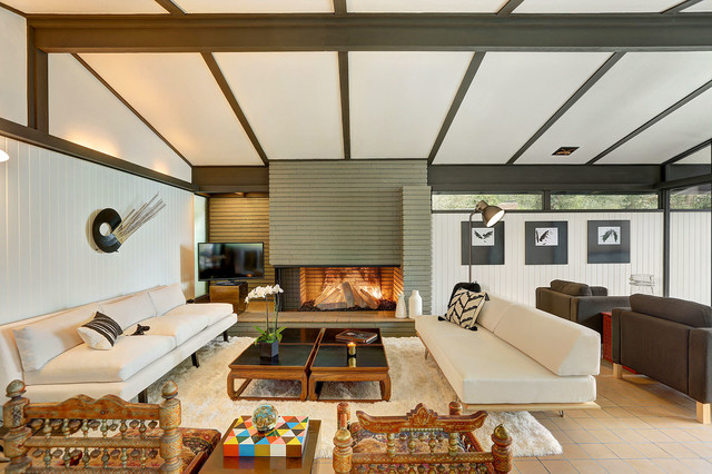 Living Room Large Midcentury Modern Open Concept Idea In Los Angeles With White