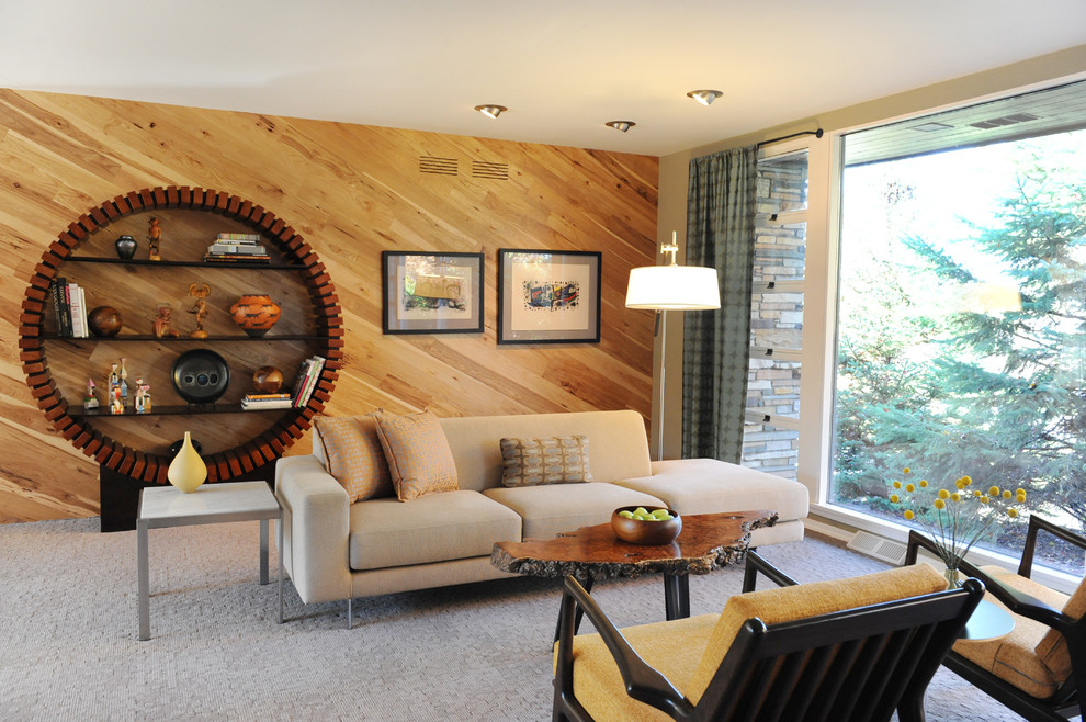 Inspiration for a mid-century modern living room remodel in Minneapolis