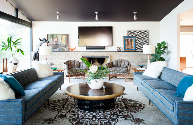 Mid Century on the Ridge eclectic-living-room