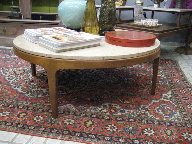 Mid Century Walnut And Travertine Round Coffee Table By Lane