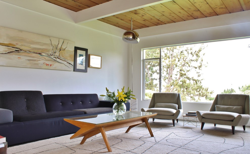 Living room - 1960s living room idea in Los Angeles with white walls