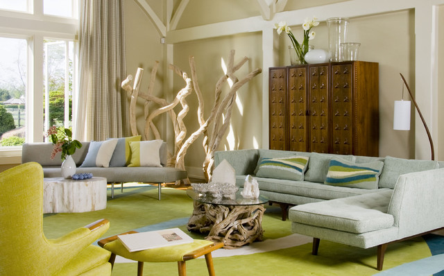 Beach House Bridgehampton midcentury-living-room