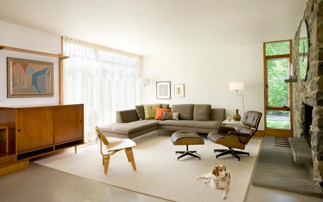 Midcentury Update Modern Living Room boston by Diane Burcz Interior Design