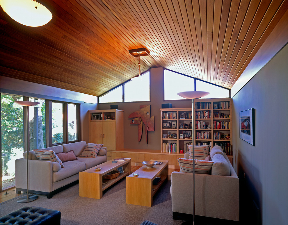Large mid-century modern living room photo in Minneapolis with gray walls